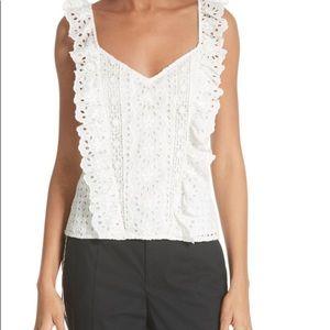 Joie Eyelet sleeveless Cotton Top